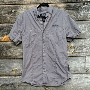 Harley-Davidson Gray Short Sleeve Snap Front Shirt
